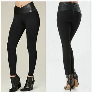 Bebe faux leather trim leggings
